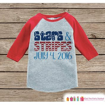 Kids Stars & Stripes Outfit - 4th of July Onepiece or T-shirt - Red Raglan, Baseball Shirt - American Pride Shirt, Baby, Toddler, Youth