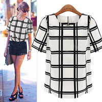 White And Black Plaid Short-Sleeve Blouse