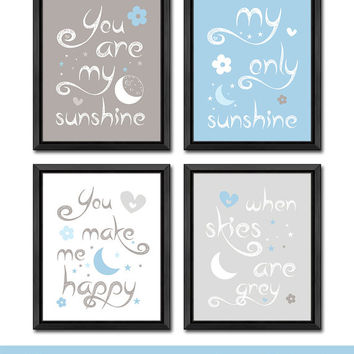 blue and gray you are my sunshine nursery moon and stars themed nursery wall art baby quotes nursery gift ideas new baby gift nursery quote
