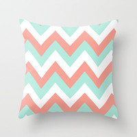 TEAL & CORAL CHEVRON Throw Pillow by nataliesales | Society6