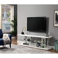 "72"" Wooden TV Stand With Spacious Glass Shelf, White By Casagear Home"