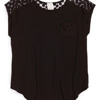 Ella Moss 'Taylor' Embroidered Mesh Yoke Woven Top (Big Girls)