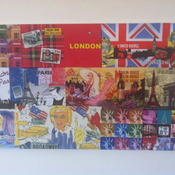 LondonParisNew York Canvas Decoupage Painting by litsakiv on Etsy