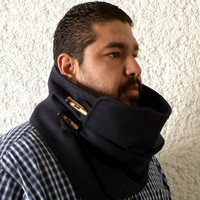 Men scarf. Extra Wide, Navy blue wool 100%. Trendy, modern and cozy. READY TO SHIP.
