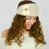 Beige Knit Headband beige ear warmers hand knitted headband grosgrain ribbon bow knit head wrap knit turban cute earwarmers beige cable knit