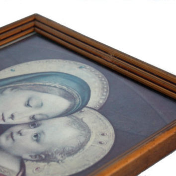 Big religious portrait of the Holy Virgin Mary with child / Wood frame