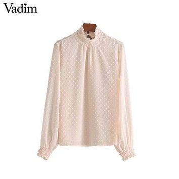 Vadim women sweet ruffled dots pink shirts pleated long sleeve elastic collar blouses cute brand fashion tops blusas LT2470