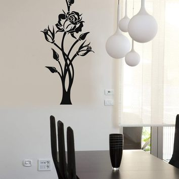 Vinyl Decal Beautiful Rose Flower Pattern Wall Sticker Plant Home Decor Ornament Style Unique Gift (ig672)
