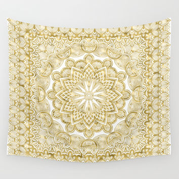 Orient Espresso Pattern Mandala Gold Wall Tapestry by Octavia Soldani | Society6
