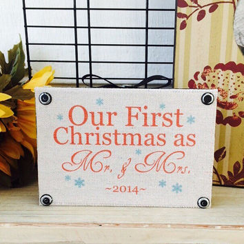 Wood signs / our first christmas as mr. & mrs. / country signs / rustic signs / signs for the home / shelf sitter/ christmas decor