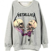 Gray Loose Fit Sweatshirt with Cartoon Skull Print