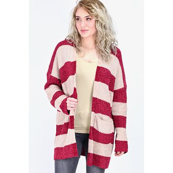 Chenille Striped Chunky Knit Cardigan {Taupe/Burgundy}