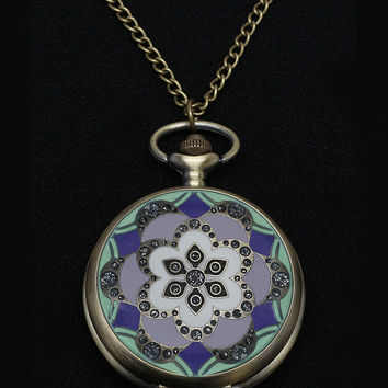 Vintage Style Art Deco Pocket Watch Pendant 3