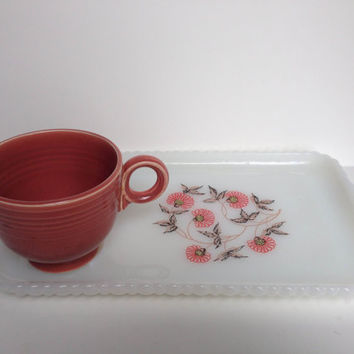 Vintage Kitsch Milk Glass Serving tray with cup, vintage serving tray, federal milk glass, milk glass tray, snack tray