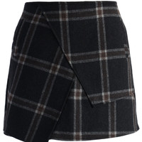 Asymmetric Tartan Wool-blend Bud Skirt Black