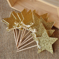 10PCS 8color Star Happy Birthday wedding Cake Topper Baby Shower Party Decor Event Christmas Cake Decorative Supplies