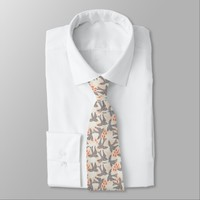 Amazing Black Swallow Bird Animal Pattern Tie