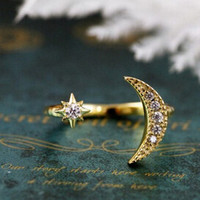 vintage fashon Fine Refinement jewelry Sweet Rhinestone Moon Star sun cute Finger rings for women wedding party ring SJZ-003