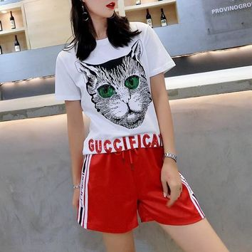 """Gucci"" Women Casual Fashion Embroidery Sequin Letter Cat Head Print Short Sleeve Multicolor Stripe Shorts Set Two-Piece Sportswear"