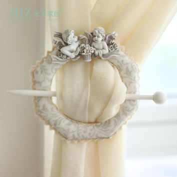 Free Shipping Miz Home White 1 Piece Cute Angel Baby Window Curtain Tieback Buckle  Europe Hook Decoration New Arrival Hot