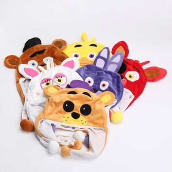 60pcs/lot  At   Plush Freddy Fazbear Foxy Bonnie Chica Beanie Hat Winter Ear Protector Cap Fluffy Earflap