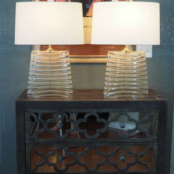 Vintage Robert Abbey Wells Table Lamp Pair / Seeded Glass Stripes / Narrow Trapezoid Shape / With Shades