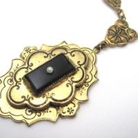 Victorian Revival Necklace - 1930s Brass and Black Glass Pearl Mourning Style Jewelry