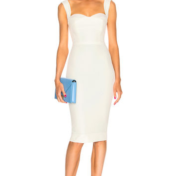 Victoria Beckham Sequin Curve Cami Fitted Midi Dress in Cream | FWRD