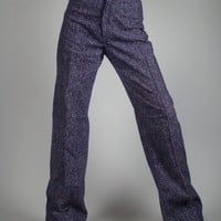 60's Bell Bottom Pants in a Purple Herringbone Wool they are  High Waist Bell Bottoms Junior Size or Women's XS