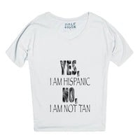 Yes, I am hispanic. No, I am not tan.-Unisex Snow T-Shirt