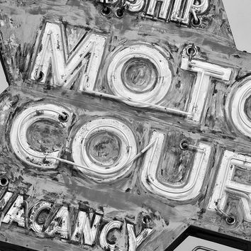 Vintage Motor Court Neon Sign Black and White Photograph (PB293179)