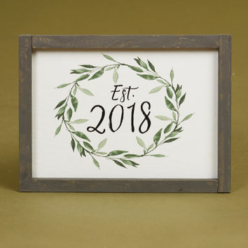 Established 2018 Leaf Framed Print - Signs & Wall Art - Gifts/Home Decor