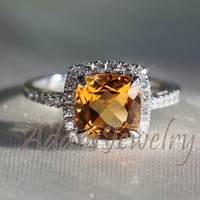 Gorgeous Halo 8mm Cushion Cut Citrine Ring 10k White Gold H/SI Diamonds Engagement Ring/ Wedding Ring/ Promise Ring/ Anniversary Ring