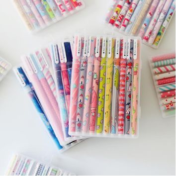 6 pc or 10 pc Kwaii Flower Colorful Chancery Gel Pen Office/School Supplies
