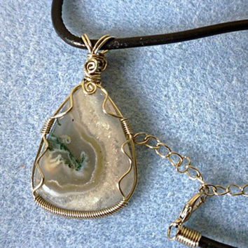 Wire wrapped pendant - Moss Agate, natural stone pendant, wire wrapped jewelry handmade, gypsy