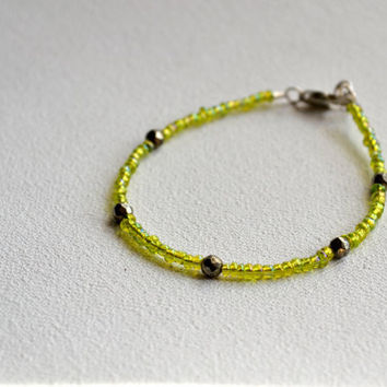 pyrite stacking bracelet // lime