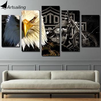 5 piece canvas art Eagles motorcycle painting paintings for living room wall free shipping wall decor ny-2910