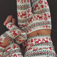 Fashion Christmas Deer Pullover Top Sweater Pants Trousers Set Two-Piece