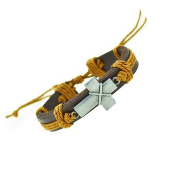 Cross Charm Leather Bracelet (Yellow)