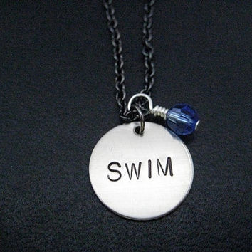 SWIM with BIRTHSTONE Crystal Necklace - Swimmer Necklace and Sterling Silver Wrapped Swarovski Crystal on Gunmetal chain - Swimmer Swim Team