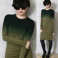 RTBU Unique Cotton Punk Dip Dye Gradient Ombre Long T Shirt Dress Army Military Green