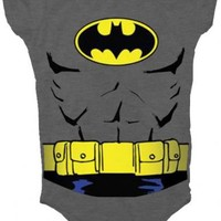 Batman Uniform Costume Charcoal Gray Snapsuit Infant Onesuit Baby Romper - Batman - | TV Store Online