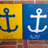 "Set of 2 Yellow, Blue and White Hand Painted Anchor Canvases, 16"" x 20"" each"