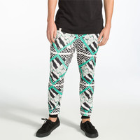 Elwood Geometric Stripe Mens Jogger Pants Black/White  In Sizes