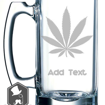 Medical Marijuana Inspired Weed Leaf 420 Art Personalized Custom Hand Etched Mug 25 oz Beer Stein Glass Cup Great Gift