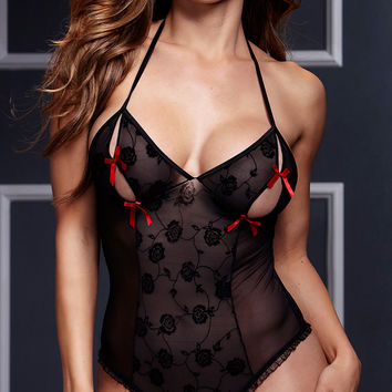 Black Floral Lace with Bow Tie Cut-Out Lingerie