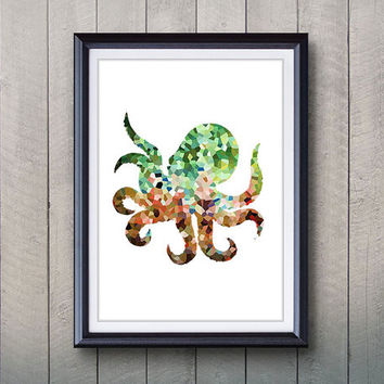 Green Octopus Ocean Animal Print - Home Living - Octopus Painting - Octopus Wall Art - Wall Decor - Home Decor, House Warming Gifts