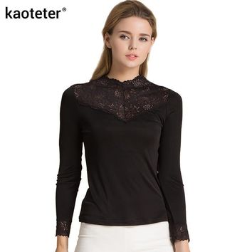 65a89427ad 100% Real Silk Women s Full Sleeve T-Shirts Femme Lace Turtlenec