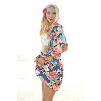 Multicolor Floral Kimono Cardigan Cover Up