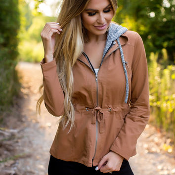 Contrast Zipper Jacket- Camel